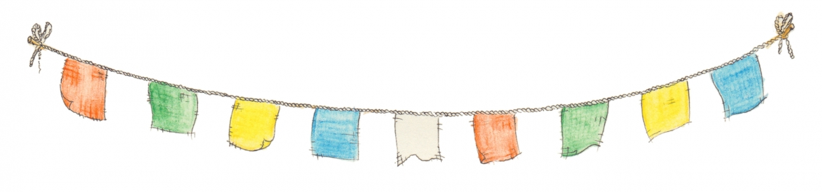 Banner of prayer flags on a string.