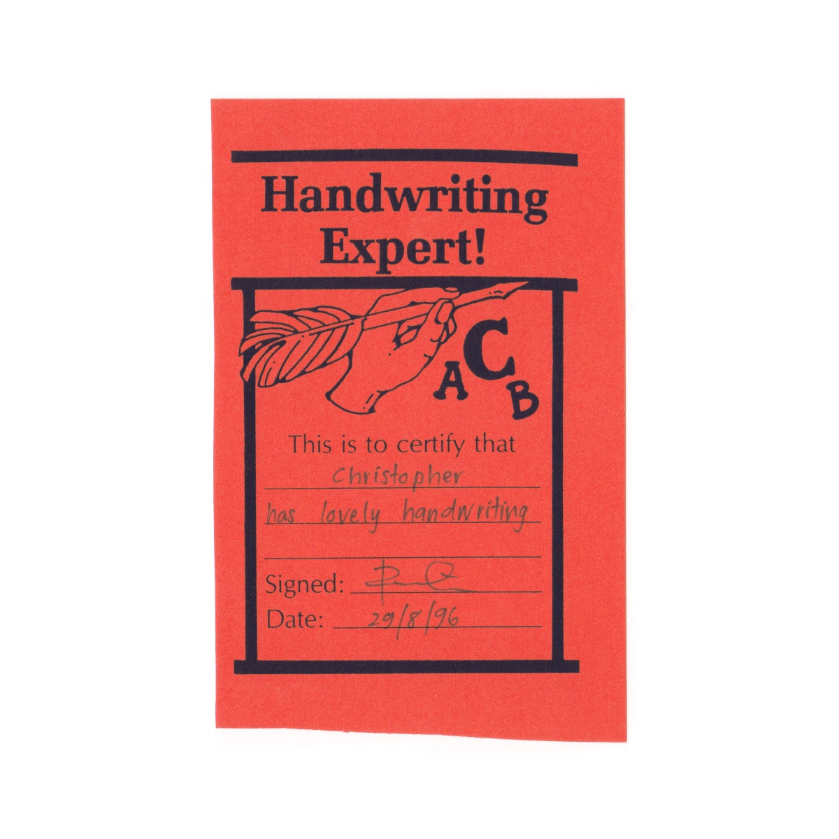 Handwriting expert certificate.