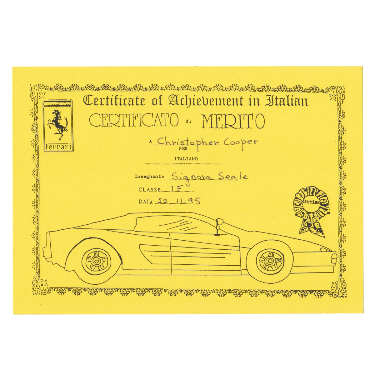 Certificato di merito.