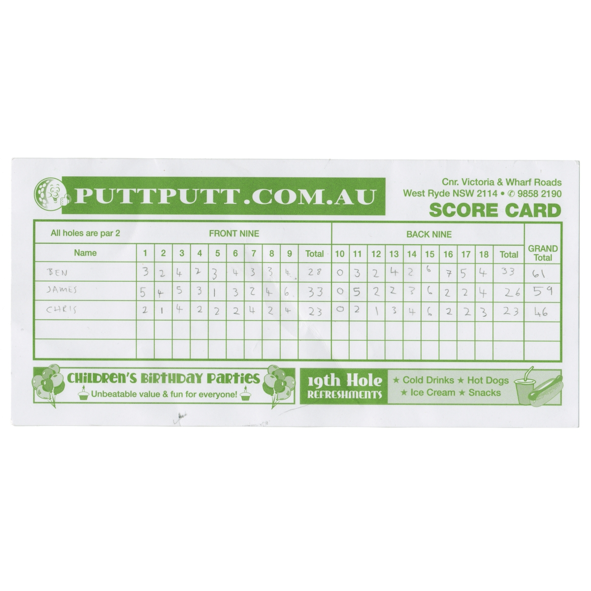 Put put golf score card.