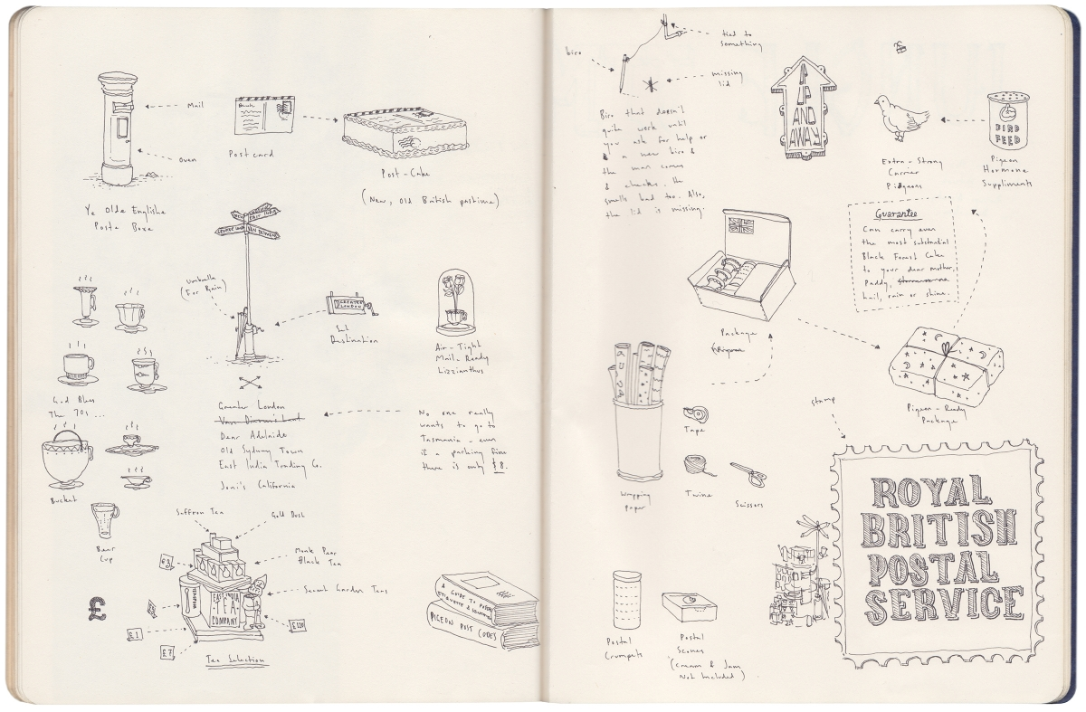 A notebook page of illustration process.