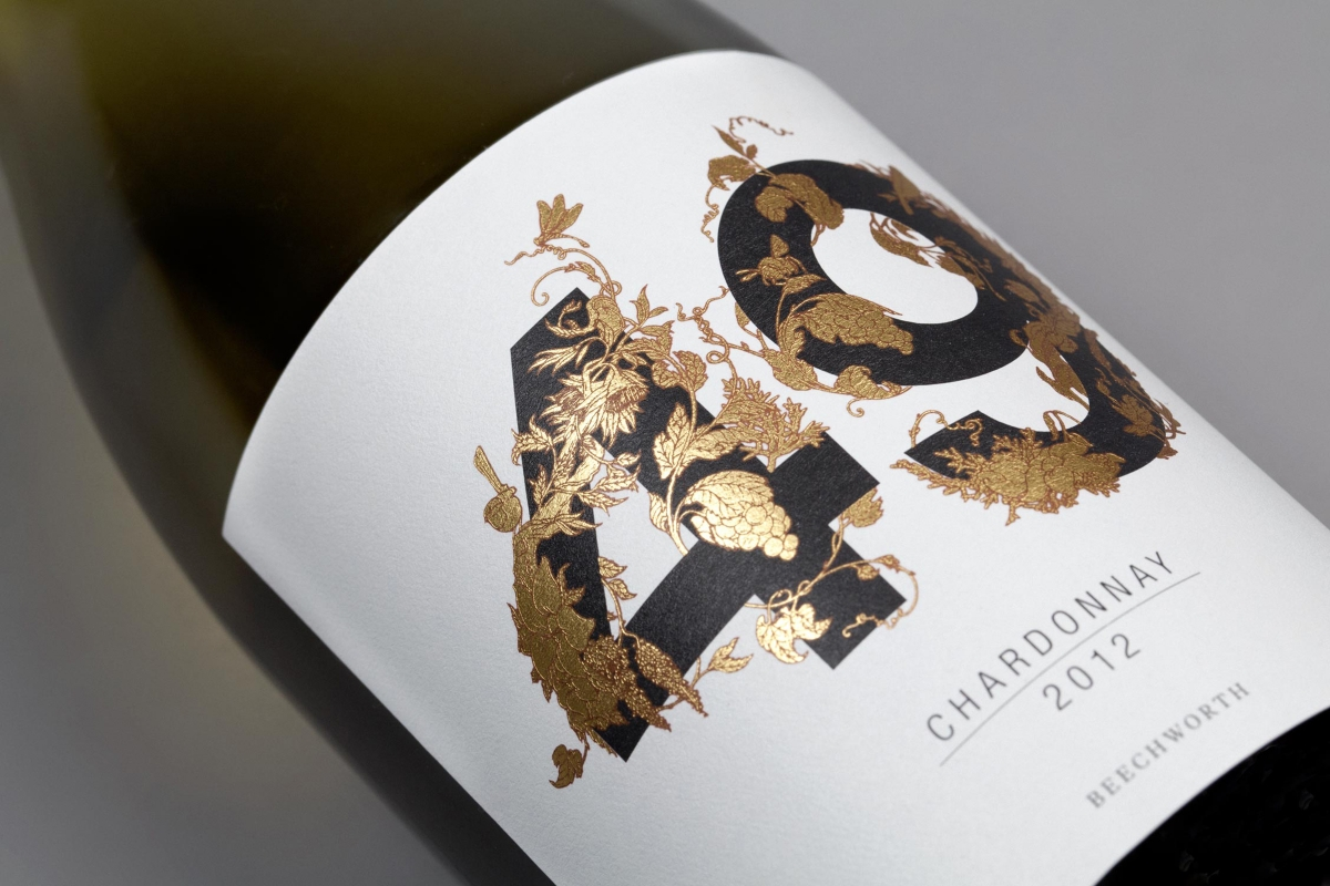 Close-up of the Project 49 wine label.