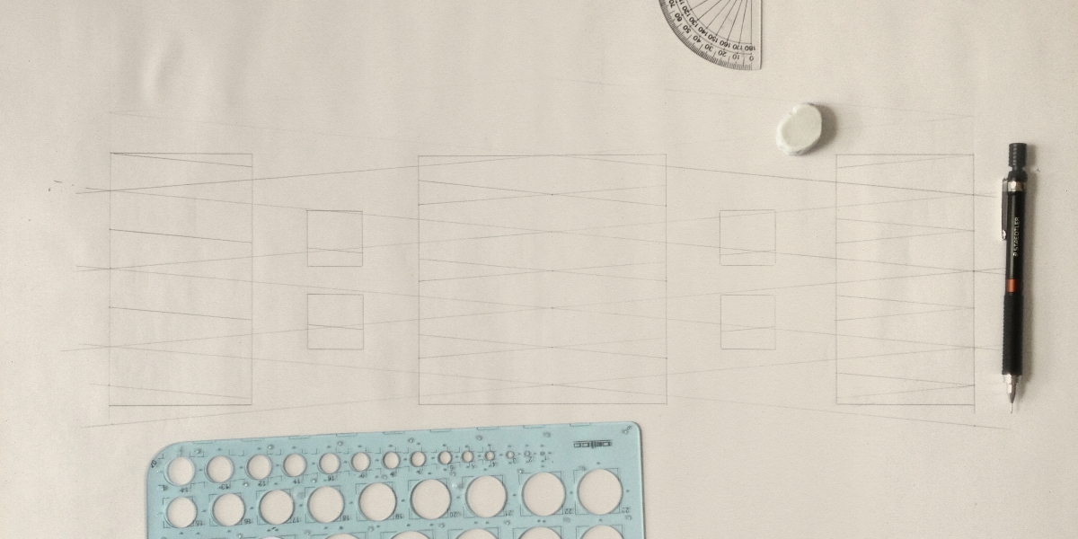Pencil guidelines for the sketch of the Incubator Ingenious.