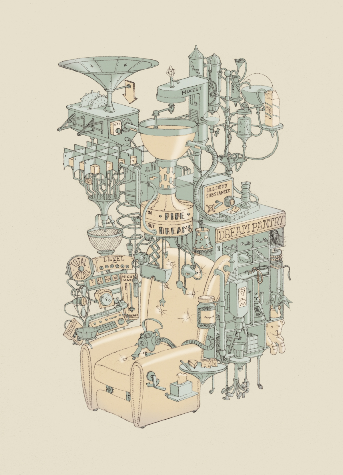 An illustrated dream machine called Pipe Dreams.