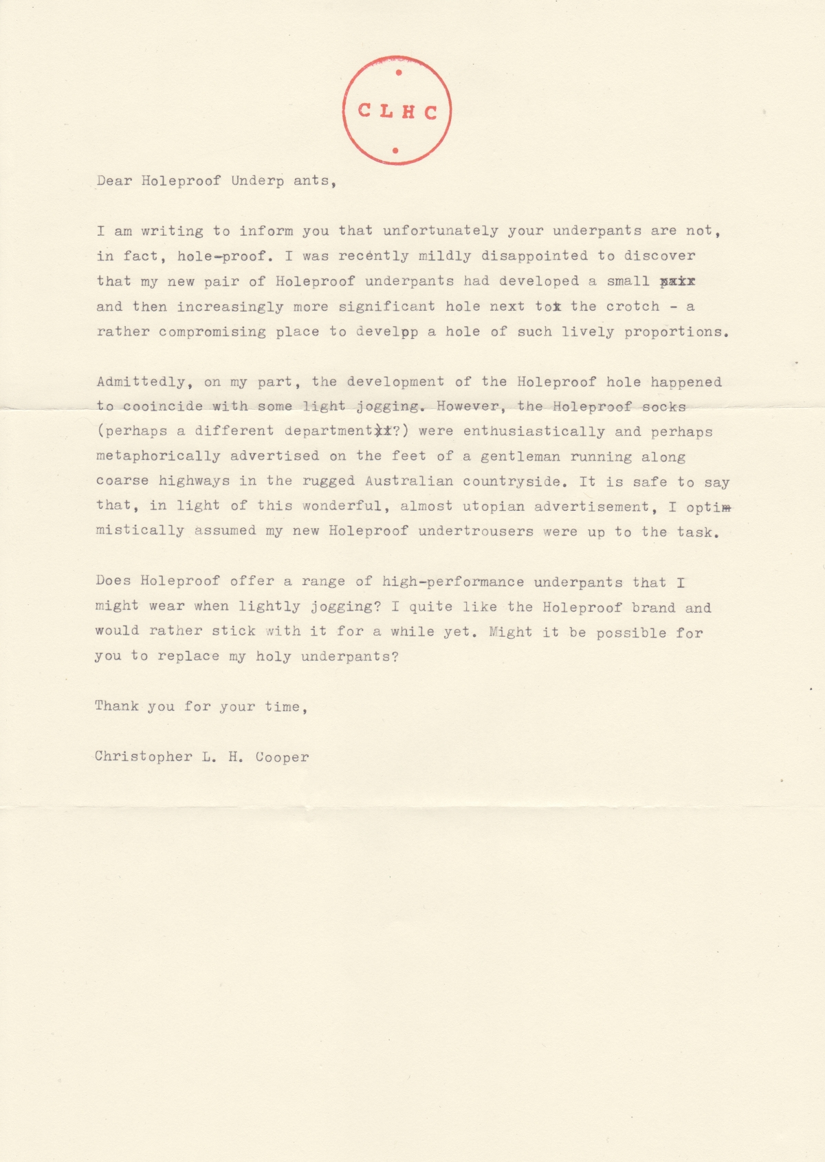 A letter from Christopher Cooper to Holeproof Underpants.