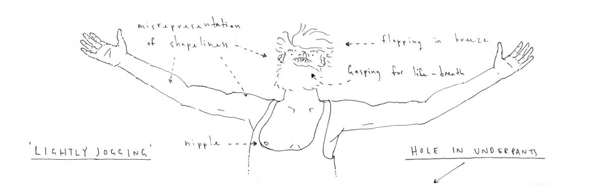 An illustration of Christopher Cooper 'lightly jogging'.