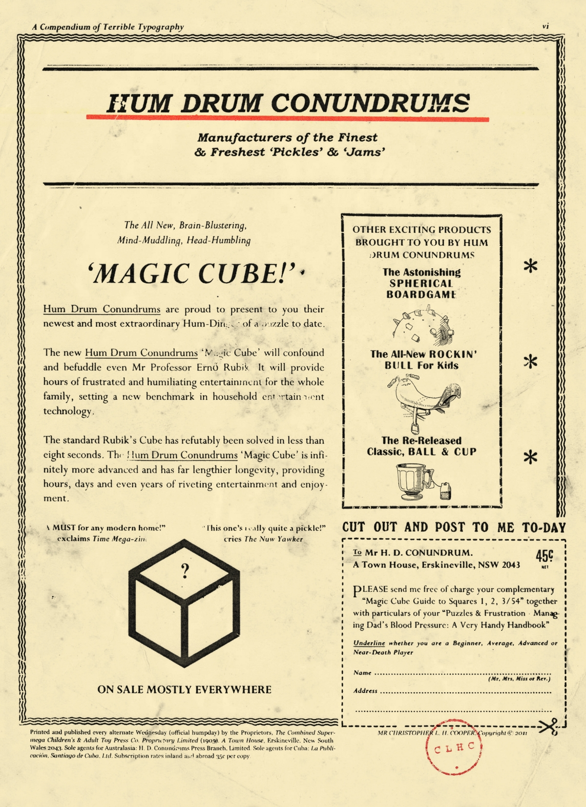 A rather silly advertisement for the Hum Drum Conundrums Magic Cube.