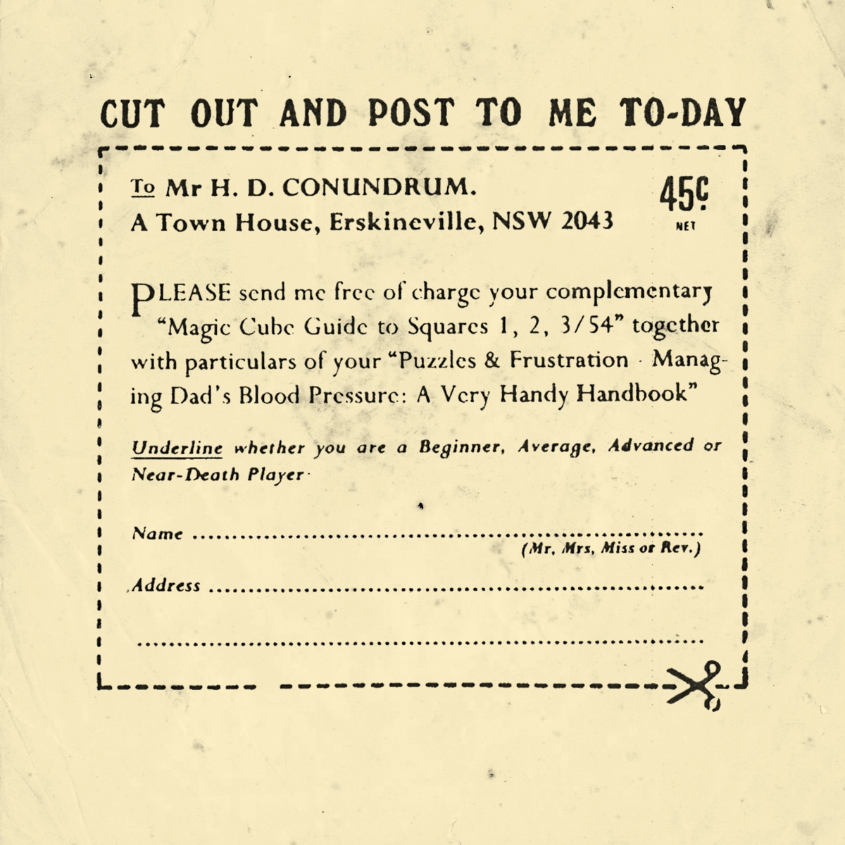 An advertisement mailer for the Hum Drum Conundrums.