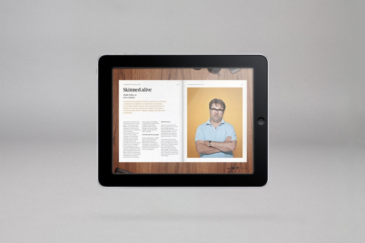 An iPad showing a digital page from the Nokia InHindsight book.