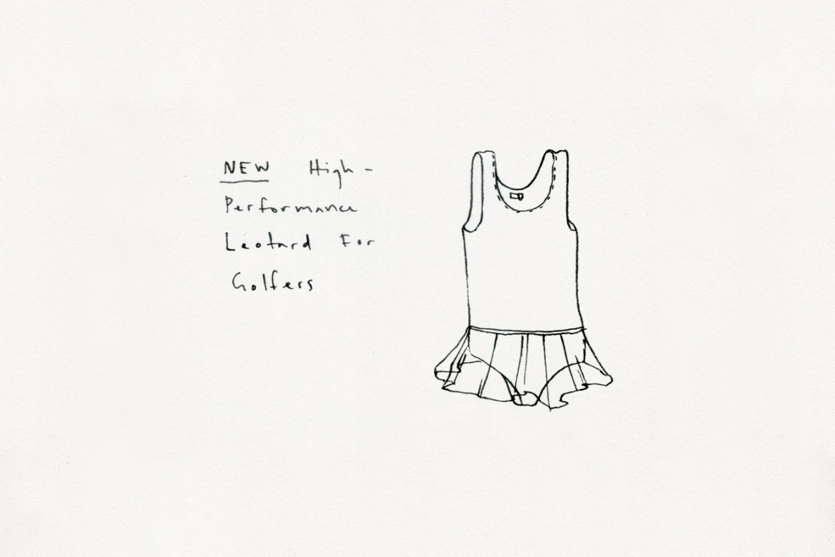 An illustration of a high-performance leotard for golfers.