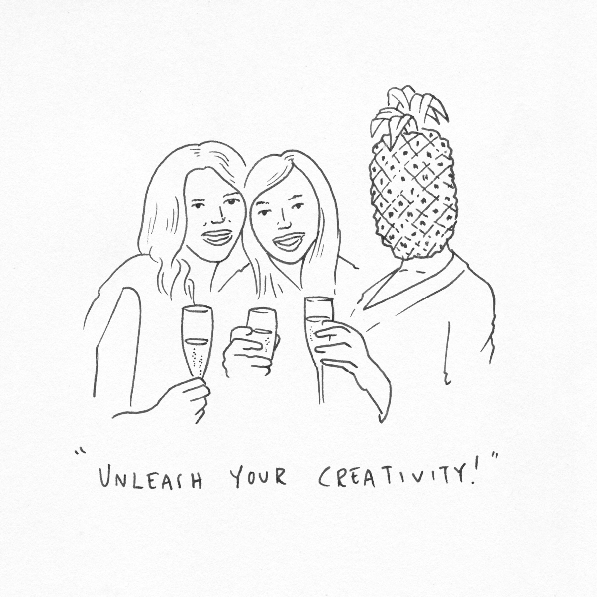 A drawing of some girls 'unleashing their creativity' with the Lumia 925.