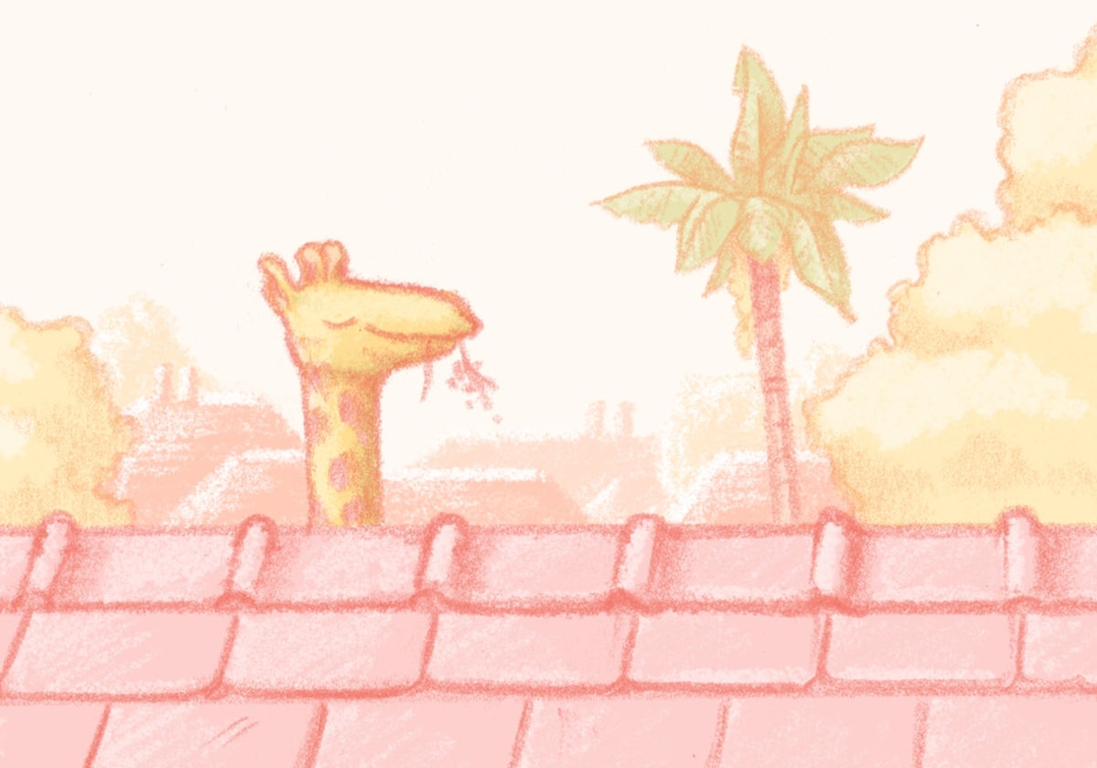 Illustration of my giraffe over the rooftops.