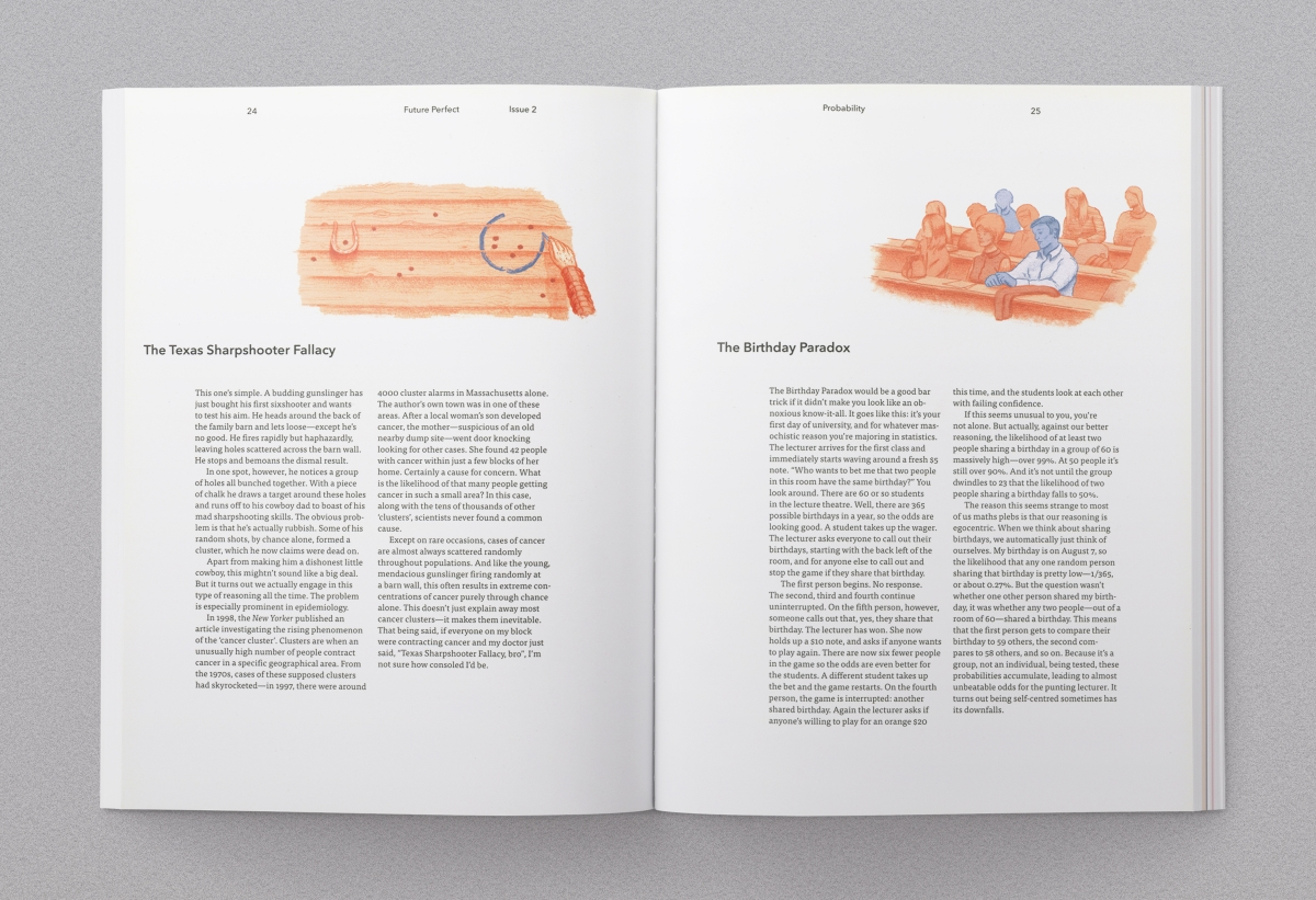 Magazine spread 2, including spot illustrations by Christopher Cooper.