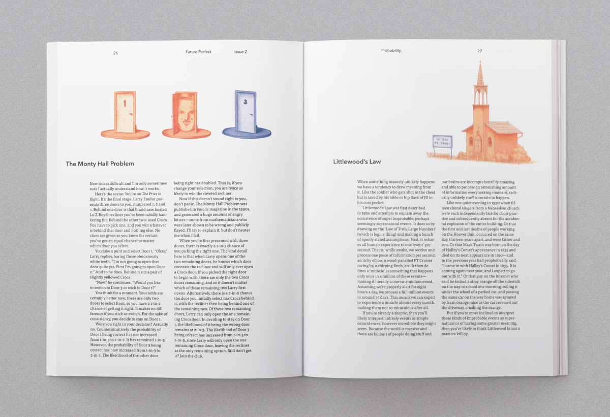 Magazine spread 3, including spot illustrations by Christopher Cooper.