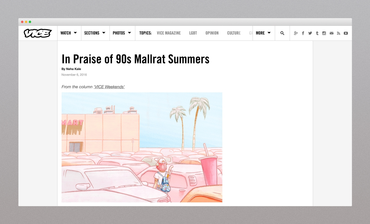 Mallrat illustration on the VICE website