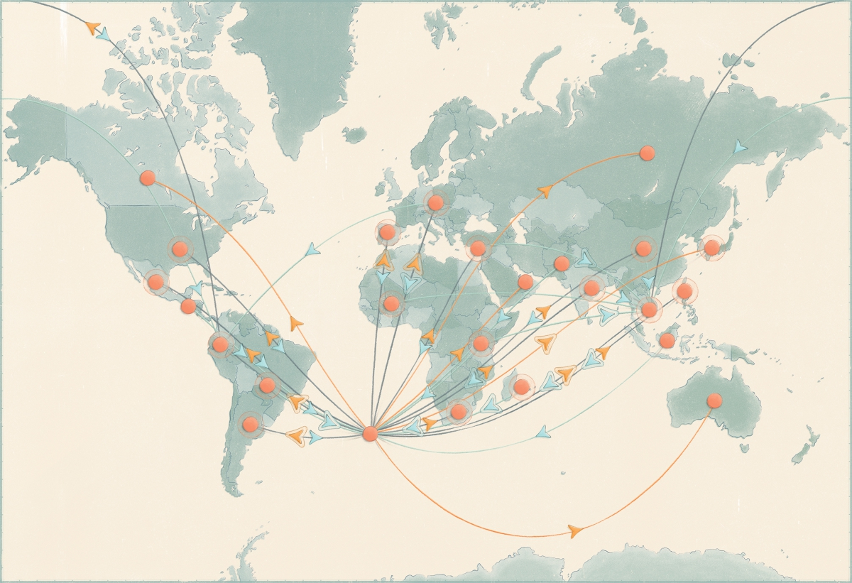 An illustrated map of the world, showing an example of Source Map supply chains.