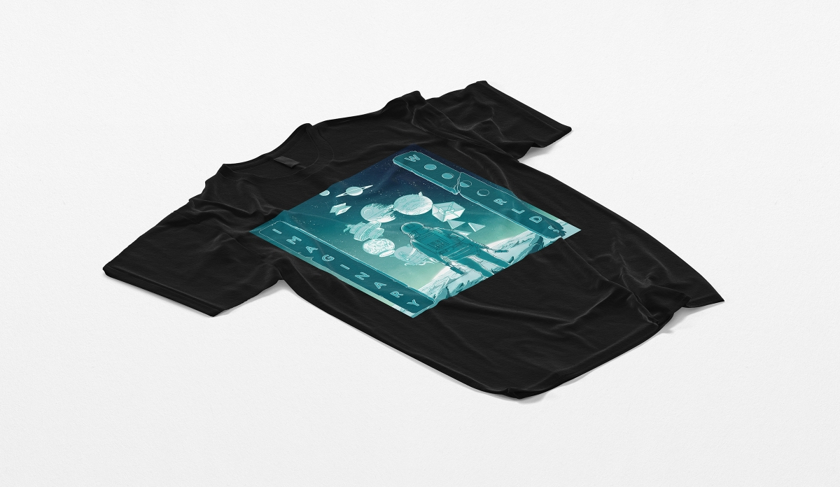 A black t-shirt with the Imaginary Worlds illustration.