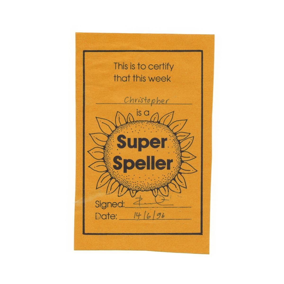 Super speller certificate.