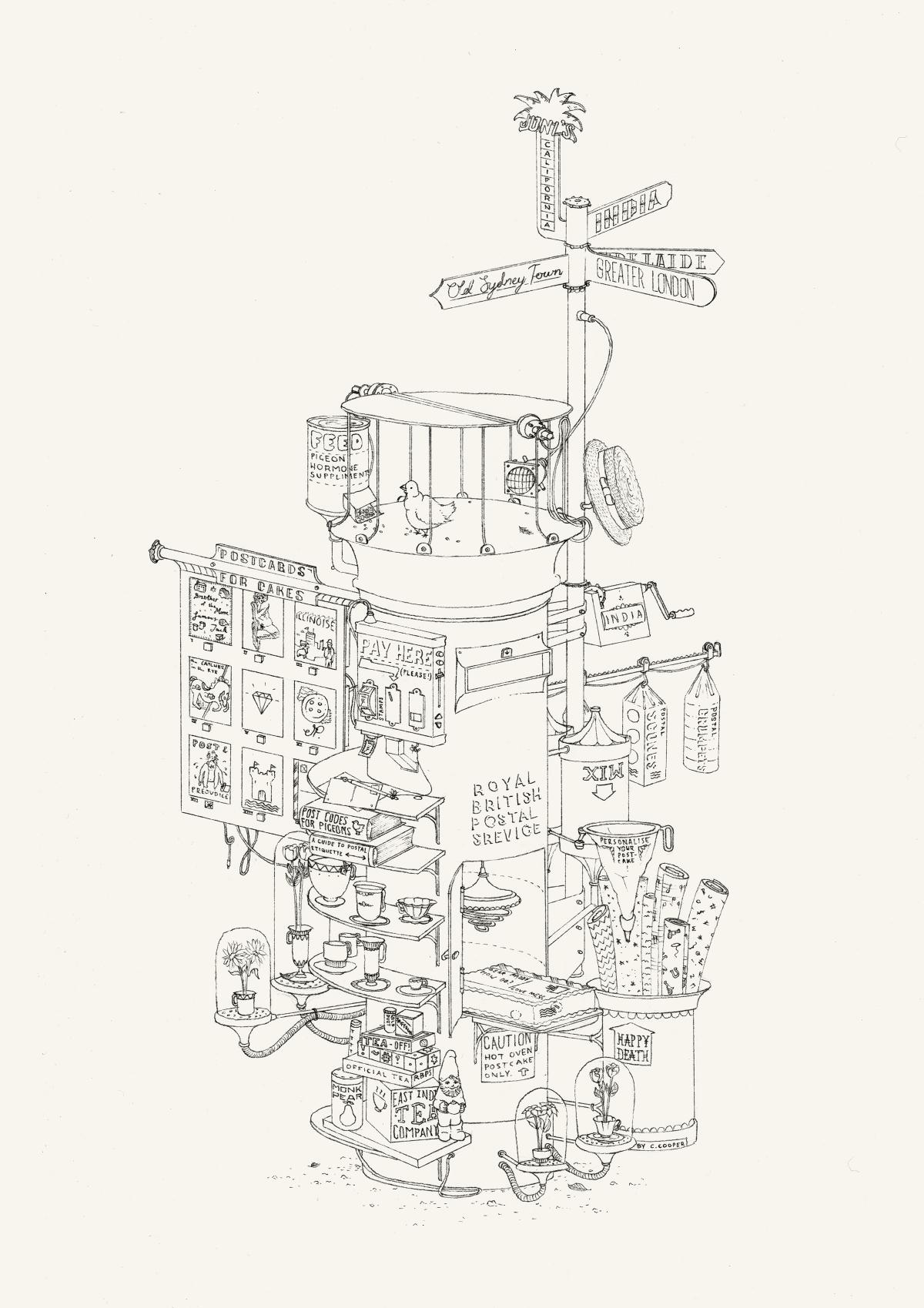 An illustration of the new royal british postal service pillar box.