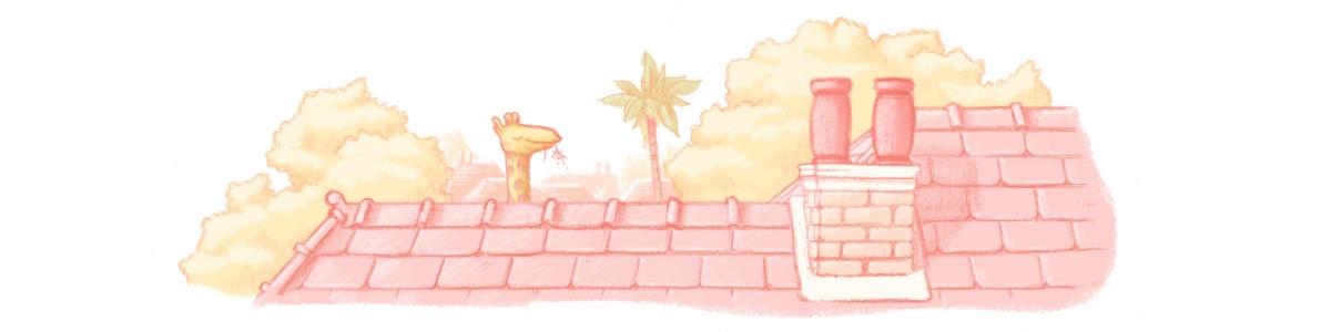 Giraffe over the rooftops.